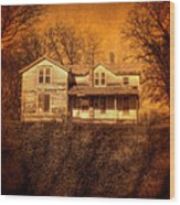 Abandoned House Sunset Wood Print by Jill Battaglia