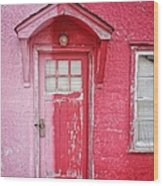 Abandoned Pink And Red House Wood Print