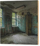Abandoned Places - Asylum - Old Windows - Waiting Room Wood Print by Gary Heller