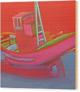 Abandoned Red Fishing Trawler Wood Print