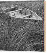 Abandoned Row Boat Along The Shoreline On Prince Edward Island Wood Print