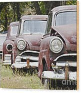 Abandoned Rusted Cars Wood Print