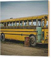 Abandoned School Bus Wood Print