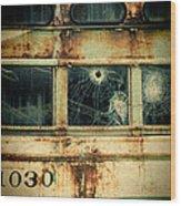 Abandoned Train Car Wood Print