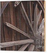 Abandoned Wagon Wheel Wood Print