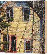 Abandoned Yellow House Wood Print