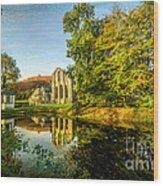 Abbey Lake Autumn Wood Print