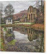 Abbey Reflection Wood Print