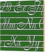 Abc 123 Green Wood Print