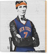 Abe Lincoln In A Carmelo Anthony New York Knicks Jersey Wood Print
