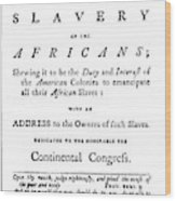 Abolitionist Tract, 1776 Wood Print