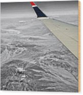 Above The Clouds Wing Tip View Sc Wood Print