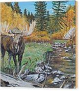 Above The Lake ..moose Wood Print