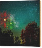 Above The Trees Below The Stars Celebration  Wood Print