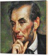 Abraham Lincoln - Abstract Realism Wood Print