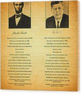 Abraham Lincoln And John F Kennedy Presidential Similarities And Coincidences Conspiracy Theory Fun Wood Print