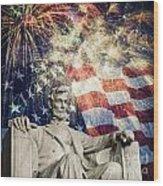 Abraham Lincoln Fireworks Wood Print