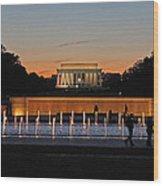 Abraham  Lincoln Memorial Sunset Wood Print