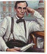 Abraham Lincoln Of Springfield Bicentennial Portrait Wood Print by Jane Bucci