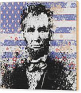 Abraham Lincoln Pop Art Splats Wood Print by Bekim Art