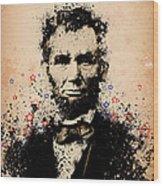 Abraham Lincoln Splats Color Wood Print
