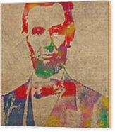 Abraham Lincoln Watercolor Portrait On Worn Distressed Canvas Wood Print