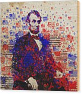 Abraham Lincoln With Flags Wood Print