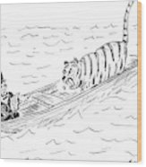 Abraham Lincoln With Tiger In Boat Wood Print