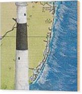 Absecon Lighthouse Nj Nautical Chart Map Art Cathy Peek Wood Print