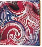 Abstract American Flag Wood Print