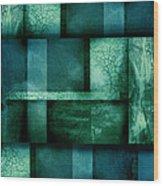 abstract art Blue Dream Wood Print by Ann Powell