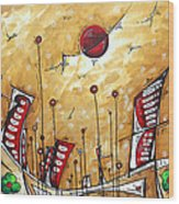 Abstract Art Cityscape Original Painting The Garden City By Madart Wood Print