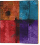 abstract - art- Color Block Square Wood Print