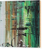 Abstract Art Colorful Original Painting Green Valley By Madart Wood Print