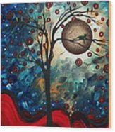 Abstract Art Contemporary Cat Bird Circle Of Life Collection Cat Perch By Madart Wood Print