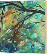 Abstract Art Landscape Circles Painting A Secret Place 2 By Madart Wood Print