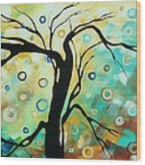Abstract Art Landscape Circles Painting A Secret Place 3 By Madart Wood Print