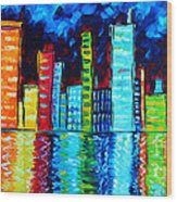 Abstract Art Landscape City Cityscape Textured Painting City Nights II By Madart Wood Print by Megan Duncanson