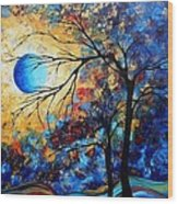 Abstract Art Landscape Metallic Gold Textured Painting Eye Of The Universe By Madart Wood Print