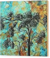 Abstract Art Landscape Metallic Gold Textured Painting Spring Blooms II By Madart Wood Print