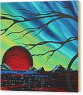 Abstract Art Landscape Seascape Bold Colorful Artwork Serenity By Madart Wood Print