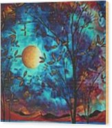 Abstract Art Landscape Tree Blossoms Sea Moon Painting Visionary Delight By Madart Wood Print