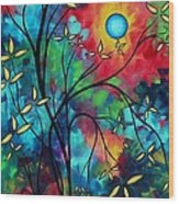 Abstract Art Landscape Tree Blossoms Sea Painting Under The Light Of The Moon II By Madart Wood Print
