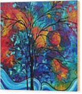Abstract Art Landscape Tree Bold Colorful Painting A Secret Place By Madart Wood Print