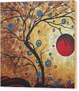 Abstract Art Landscape Tree Metallic Gold Texture Painting Free As The Wind By Madart Wood Print
