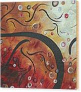 Abstract Art Original Circle Landscape By Madart Wood Print
