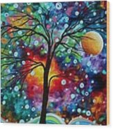 Abstract Art Original Colorful Landscape Painting A Moment In Time By Madart Wood Print