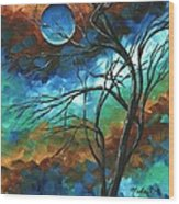 Abstract Art Original Colorful Painting Mystery Of The Moon By Madart Wood Print