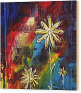 Abstract Art Original Daisy Flower Painting Visual Feast By Madart Wood Print