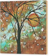 Abstract Art Original Landscape Painting Bold Circle Of Life Design Autumns Eve By Madart Wood Print
